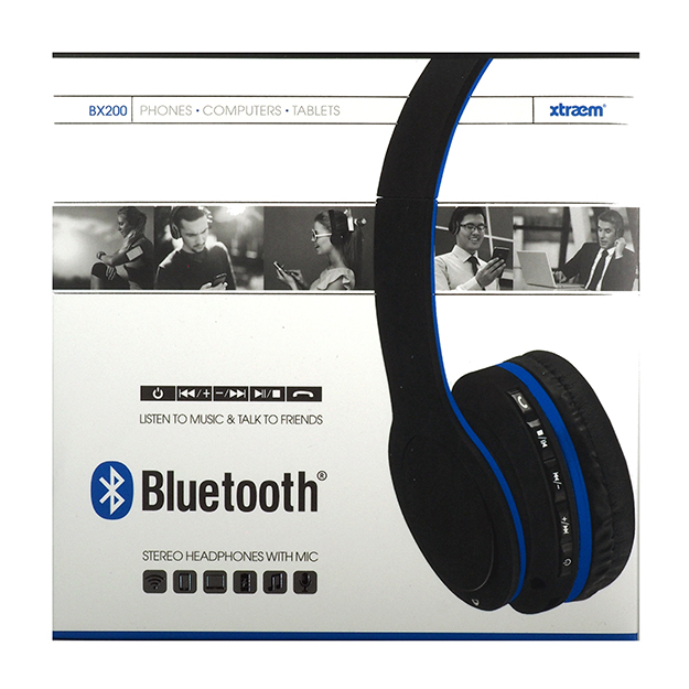 Xtraem Bluetooth Stereo Headphones With Mic Blue Bx200 Nexxwireless