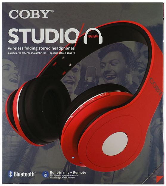 Coby Studio Wireless Folding Headphones-Red | Nexxwireless