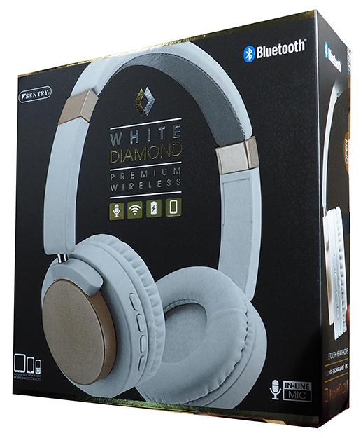 f466b262b9e Sentry White Diamond Premium Wireless Bluetooth Folding Headphones-Gold ...